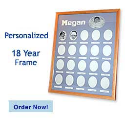 Personalized 18 Year Picture Frames have one photo space photo for each year from newborn to Age 18 to create an amazing timeline of your child growing up!